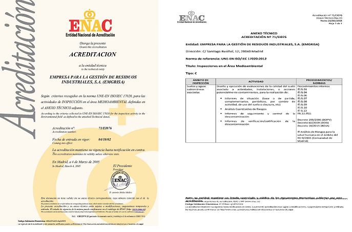 ENAC extends Emgrisa´s Acreditacion scope