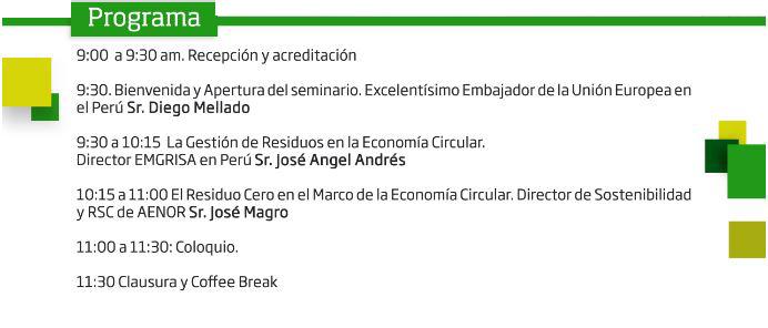 Horario de la ponencia de economía circular
